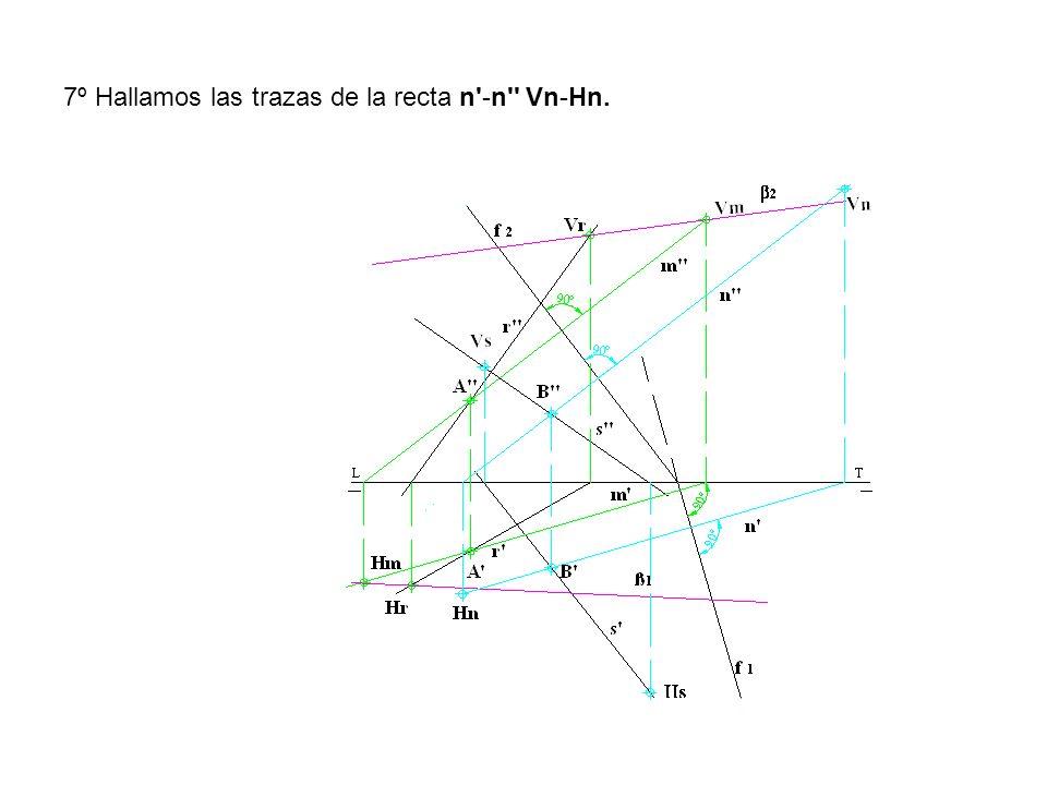7º Hallamos las trazas de la recta n -n Vn-Hn.