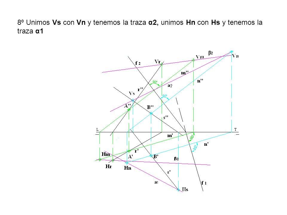 8º Unimos Vs con Vn y tenemos la traza α2, unimos Hn con Hs y tenemos la traza α1