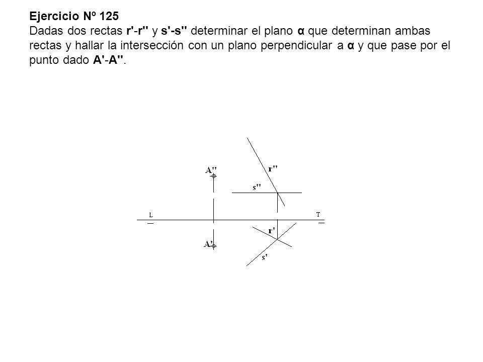 Ejercicio Nº 125 Dadas dos rectas r -r y s -s determinar el plano α que determinan ambas rectas y hallar la intersección con un plano perpendicular a α y que pase por el punto dado A -A .