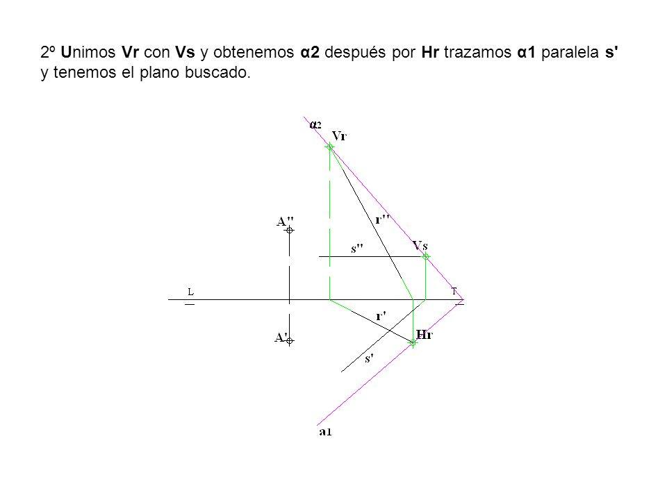2º Unimos Vr con Vs y obtenemos α2 después por Hr trazamos α1 paralela s y tenemos el plano buscado.