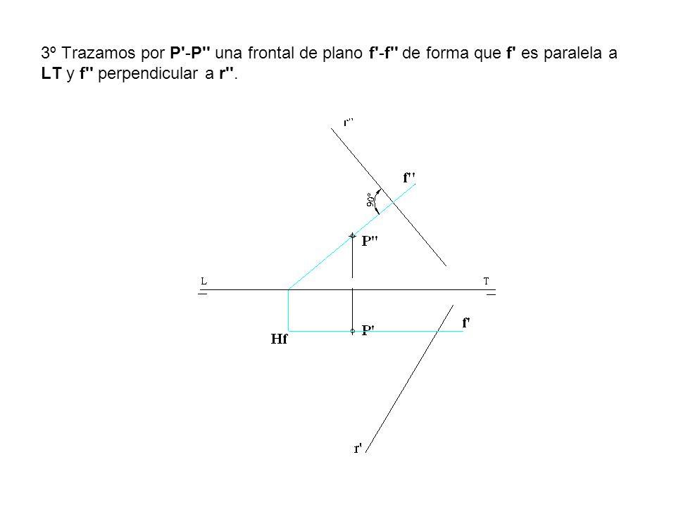 3º Trazamos por P -P una frontal de plano f -f de forma que f es paralela a LT y f perpendicular a r .