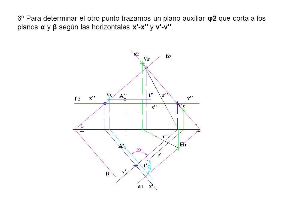 6º Para determinar el otro punto trazamos un plano auxiliar φ2 que corta a los planos α y β según las horizontales x -x y v -v .