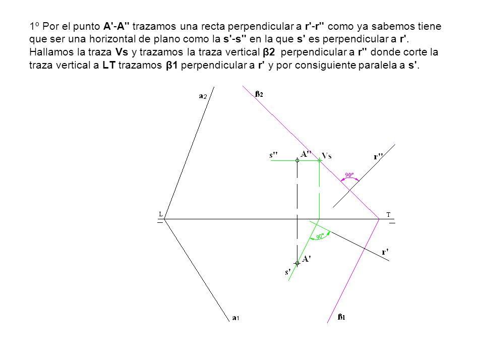 1º Por el punto A -A trazamos una recta perpendicular a r -r como ya sabemos tiene que ser una horizontal de plano como la s -s en la que s es perpendicular a r .