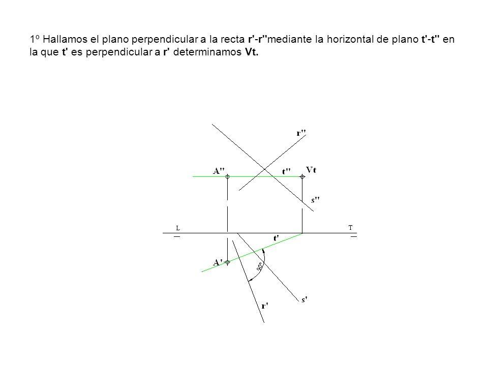 1º Hallamos el plano perpendicular a la recta r -r mediante la horizontal de plano t -t en la que t es perpendicular a r determinamos Vt.