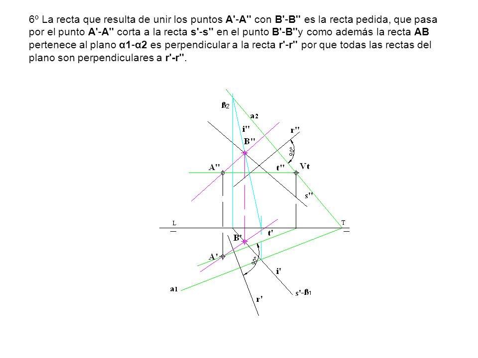 6º La recta que resulta de unir los puntos A -A con B -B es la recta pedida, que pasa por el punto A -A corta a la recta s -s en el punto B -B y como además la recta AB pertenece al plano α1-α2 es perpendicular a la recta r -r por que todas las rectas del plano son perpendiculares a r -r .