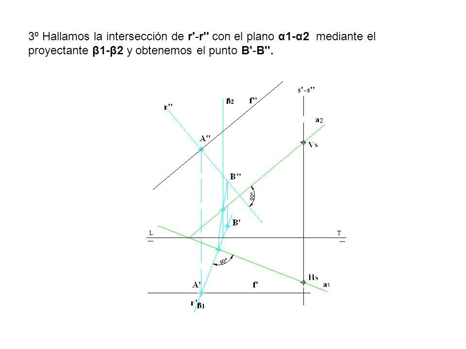 3º Hallamos la intersección de r -r con el plano α1-α2 mediante el proyectante β1-β2 y obtenemos el punto B -B .