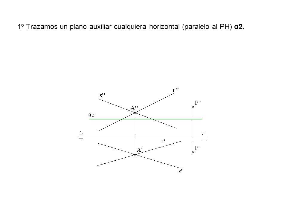 1º Trazamos un plano auxiliar cualquiera horizontal (paralelo al PH) α2.
