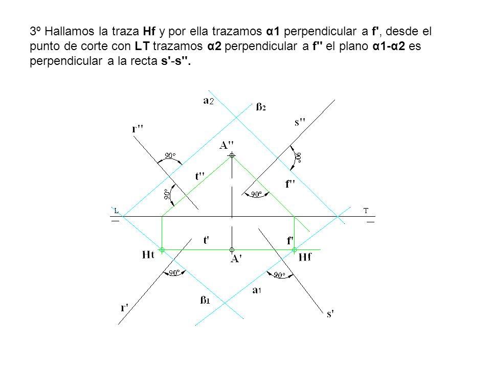 3º Hallamos la traza Hf y por ella trazamos α1 perpendicular a f , desde el punto de corte con LT trazamos α2 perpendicular a f el plano α1-α2 es perpendicular a la recta s -s .