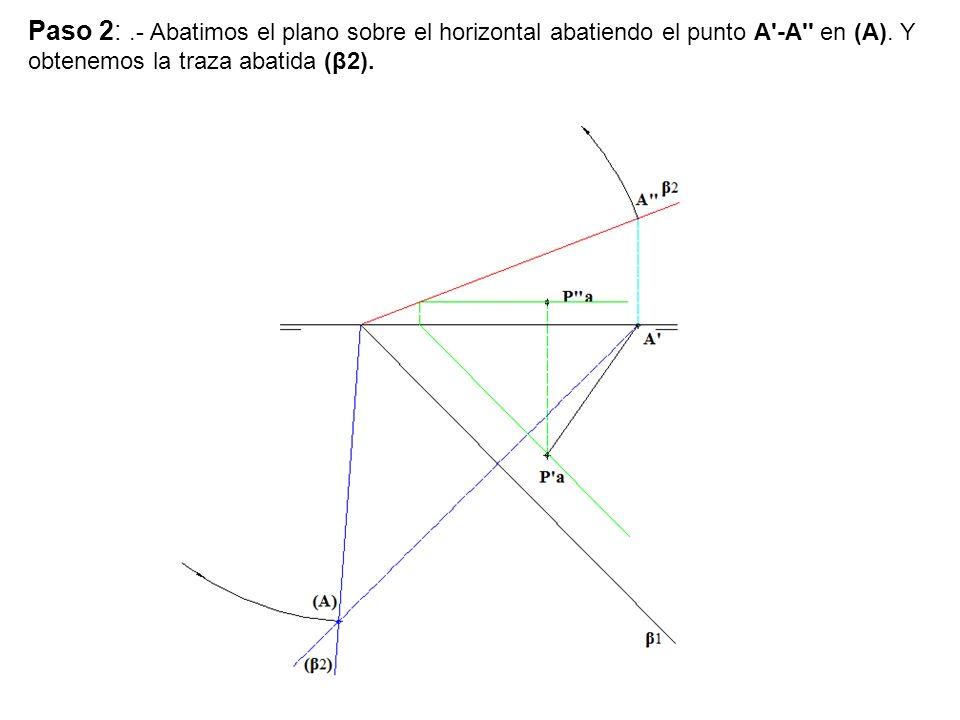 Paso 2: .- Abatimos el plano sobre el horizontal abatiendo el punto A -A en (A).