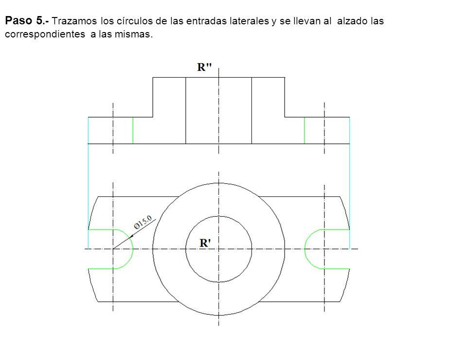 Paso 5.- Trazamos los círculos de las entradas laterales y se llevan al alzado las correspondientes a las mismas.