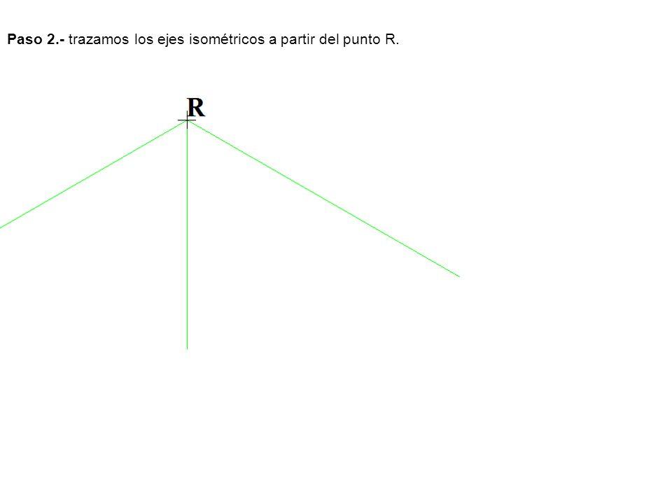 Paso 2.- trazamos los ejes isométricos a partir del punto R.