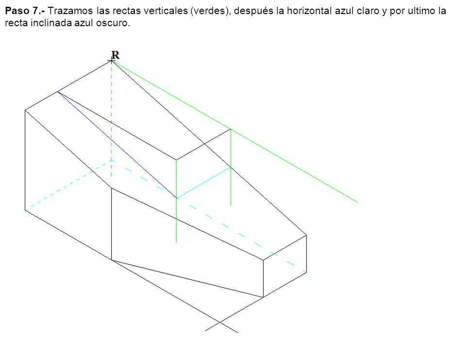 Paso 7.- Trazamos las rectas verticales (verdes), después la horizontal azul claro y por ultimo la recta inclinada azul oscuro.