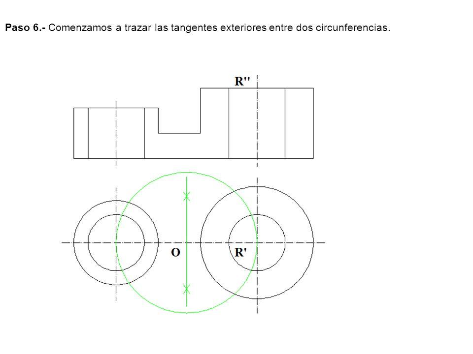 Paso 6.- Comenzamos a trazar las tangentes exteriores entre dos circunferencias.