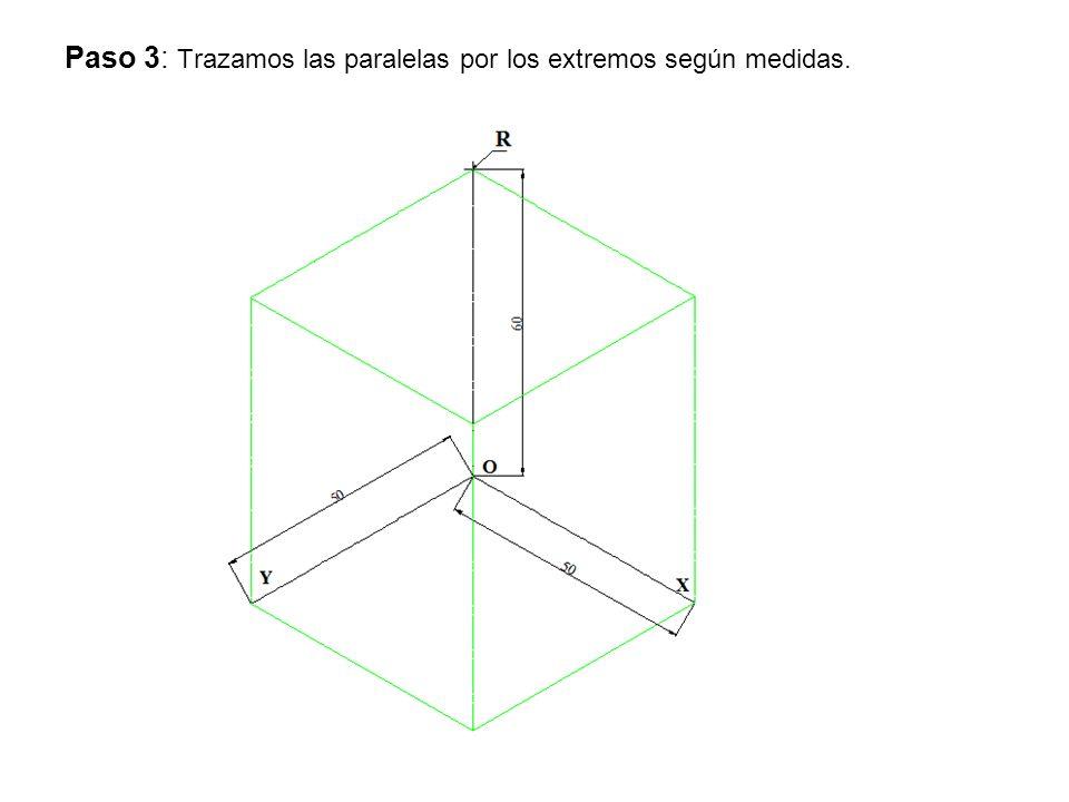 Paso 3: Trazamos las paralelas por los extremos según medidas.