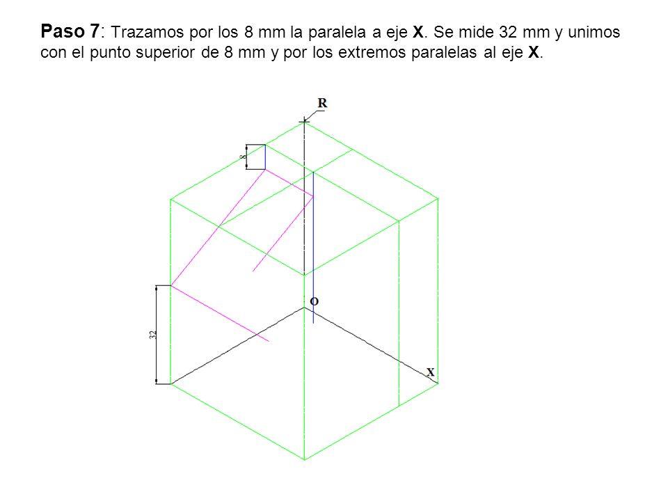 Paso 7: Trazamos por los 8 mm la paralela a eje X