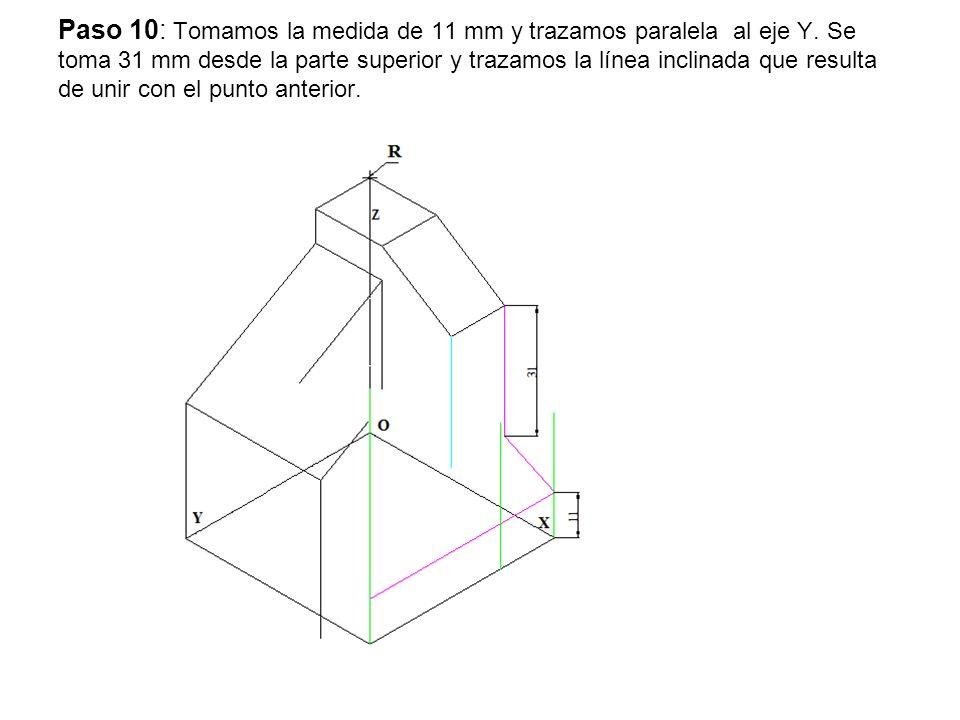Paso 10: Tomamos la medida de 11 mm y trazamos paralela al eje Y