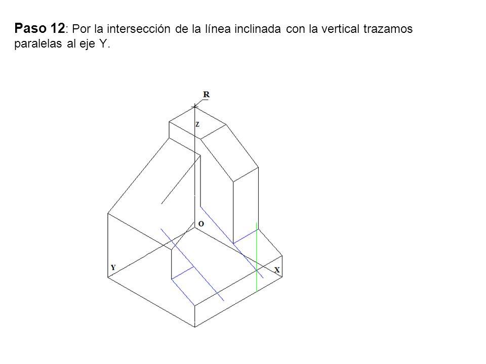 Paso 12: Por la intersección de la línea inclinada con la vertical trazamos paralelas al eje Y.