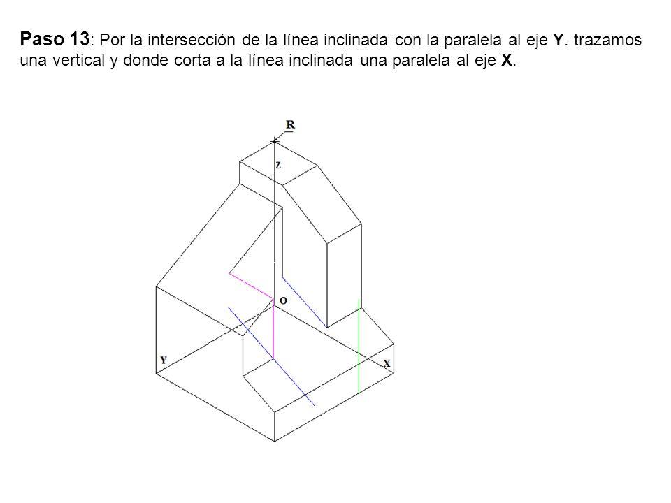 Paso 13: Por la intersección de la línea inclinada con la paralela al eje Y.