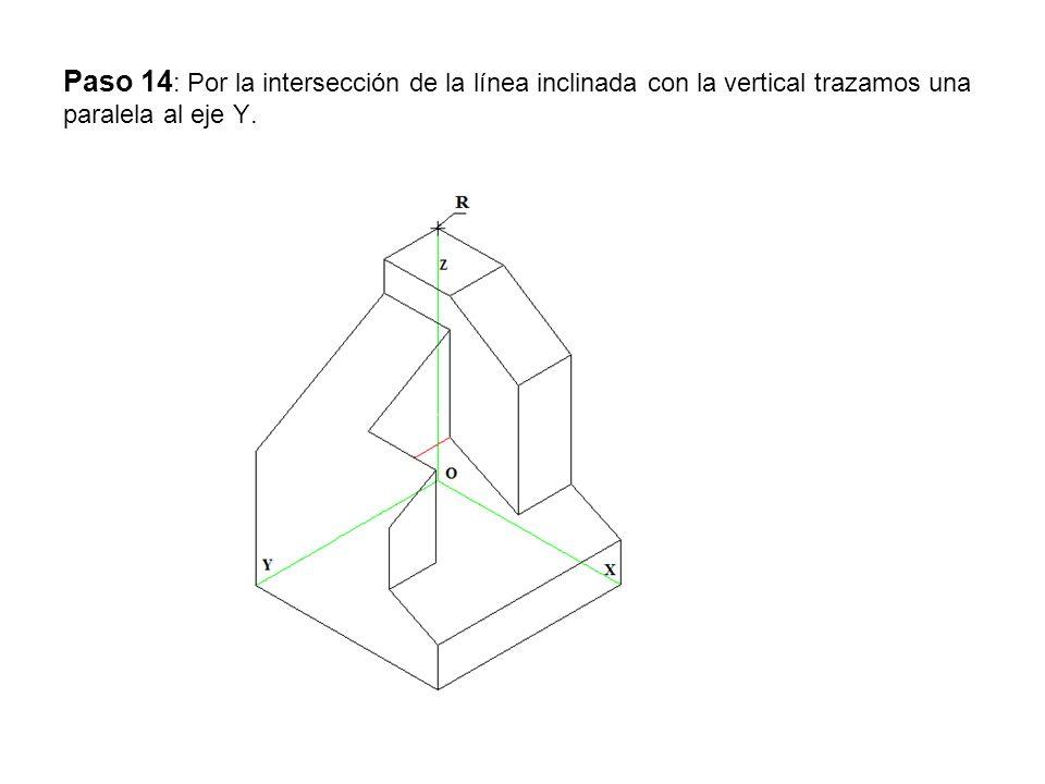 Paso 14: Por la intersección de la línea inclinada con la vertical trazamos una paralela al eje Y.
