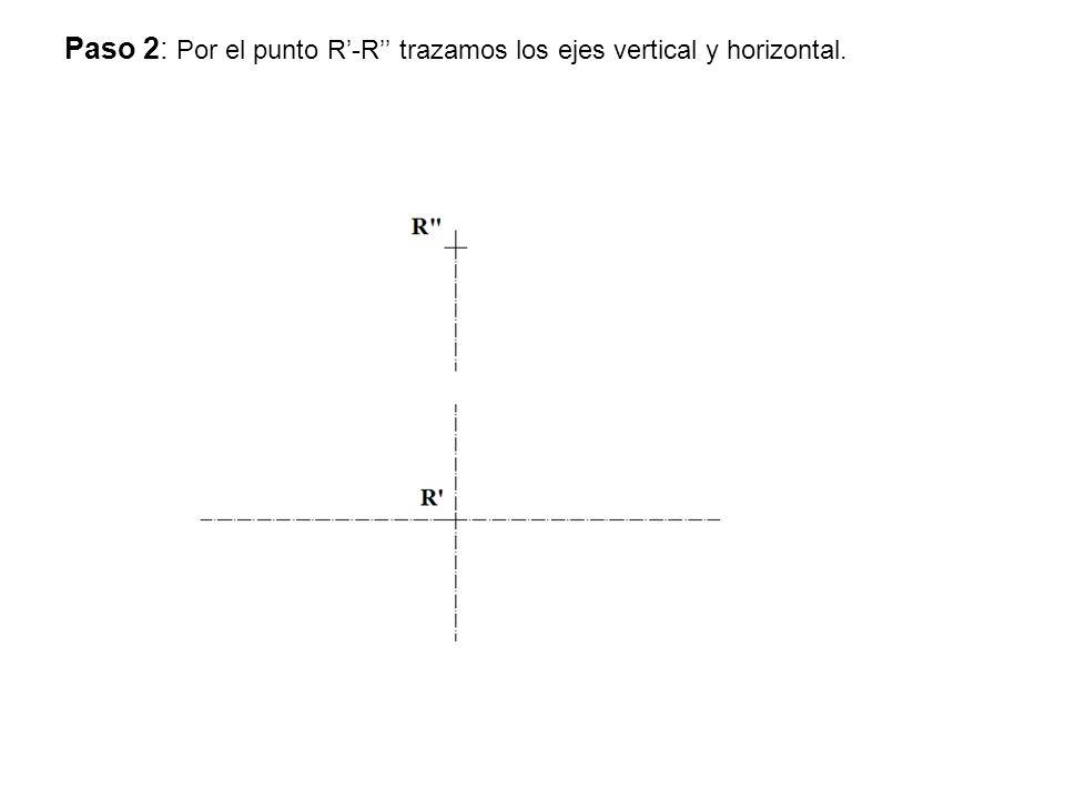 Paso 2: Por el punto R'-R'' trazamos los ejes vertical y horizontal.