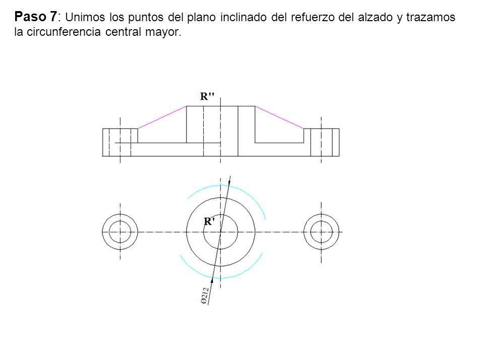 Paso 7: Unimos los puntos del plano inclinado del refuerzo del alzado y trazamos la circunferencia central mayor.