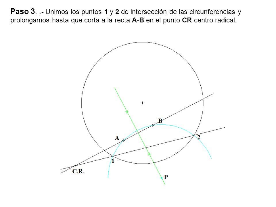 Paso 3: .- Unimos los puntos 1 y 2 de intersección de las circunferencias y prolongamos hasta que corta a la recta A-B en el punto CR centro radical.