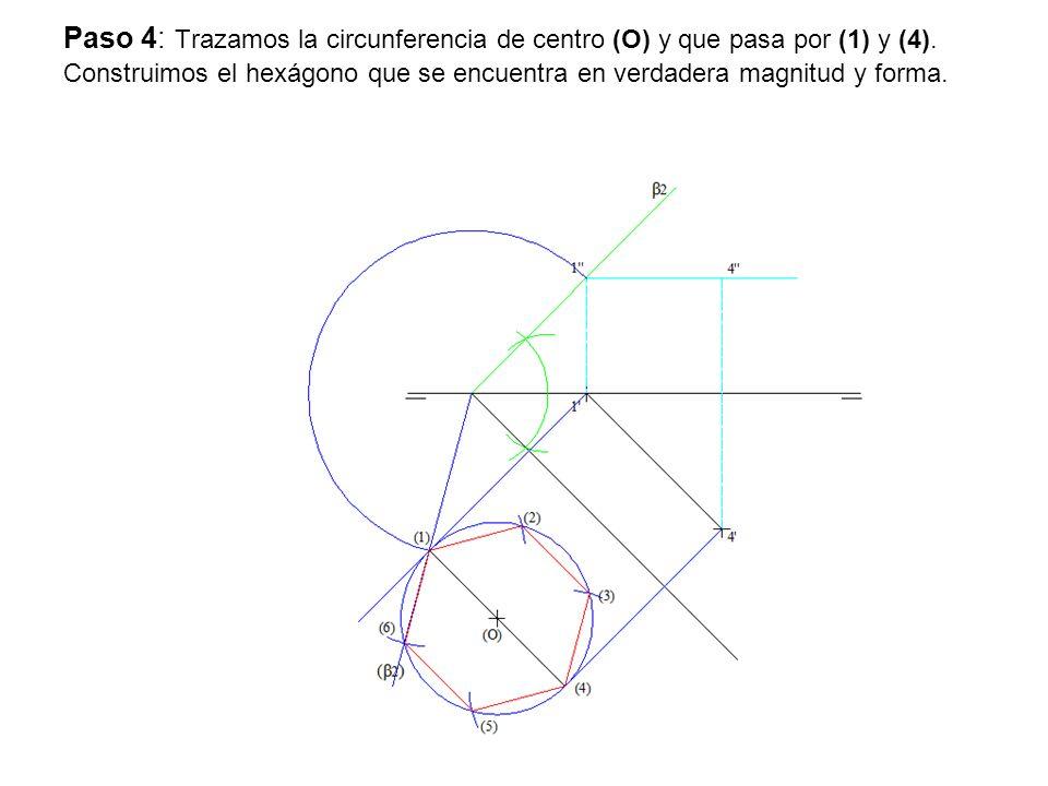 Paso 4: Trazamos la circunferencia de centro (O) y que pasa por (1) y (4).