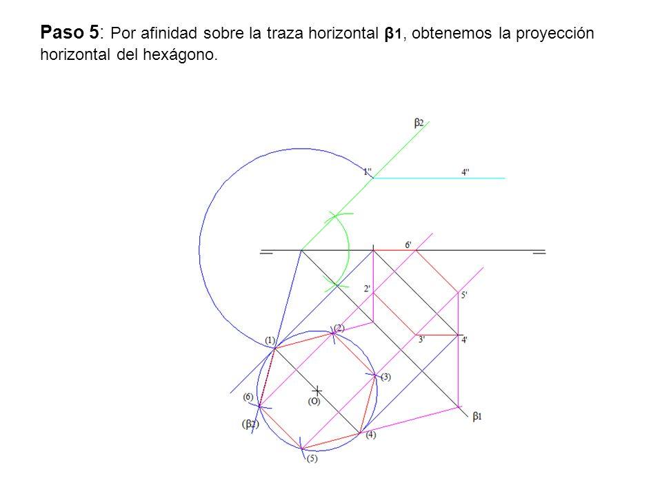 Paso 5: Por afinidad sobre la traza horizontal β1, obtenemos la proyección horizontal del hexágono.