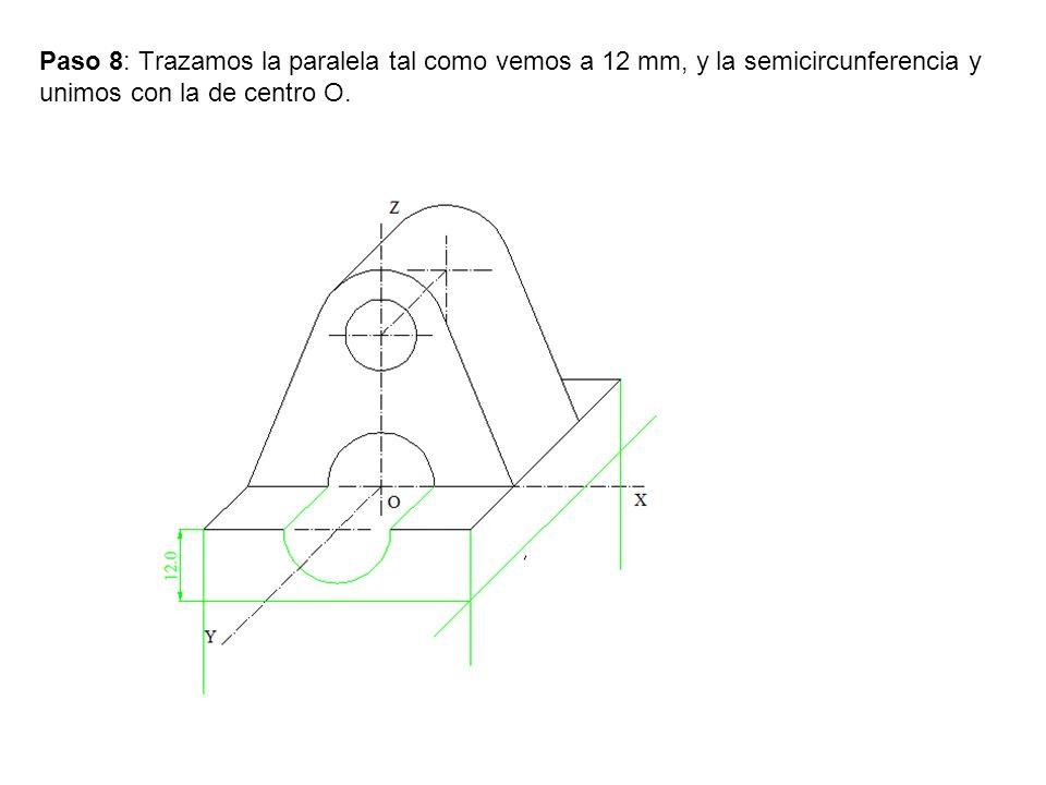 Paso 8: Trazamos la paralela tal como vemos a 12 mm, y la semicircunferencia y unimos con la de centro O.
