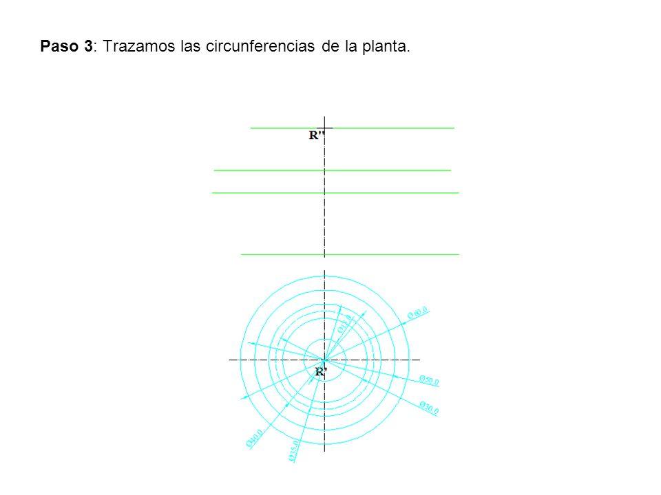 Paso 3: Trazamos las circunferencias de la planta.