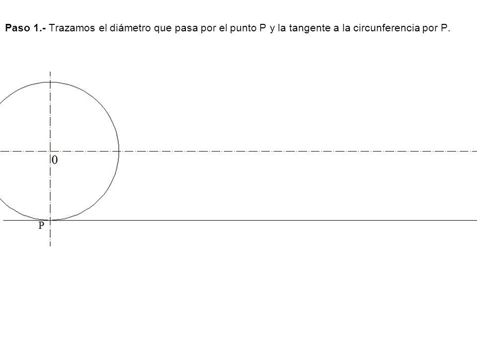 Paso 1.- Trazamos el diámetro que pasa por el punto P y la tangente a la circunferencia por P.