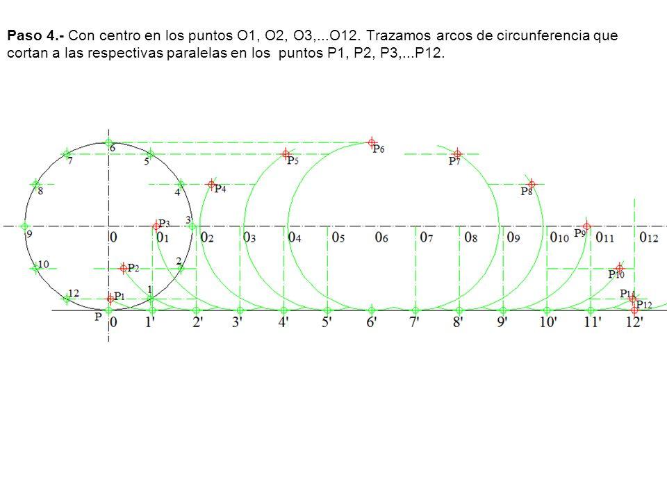Paso 4. - Con centro en los puntos O1, O2, O3,. O12