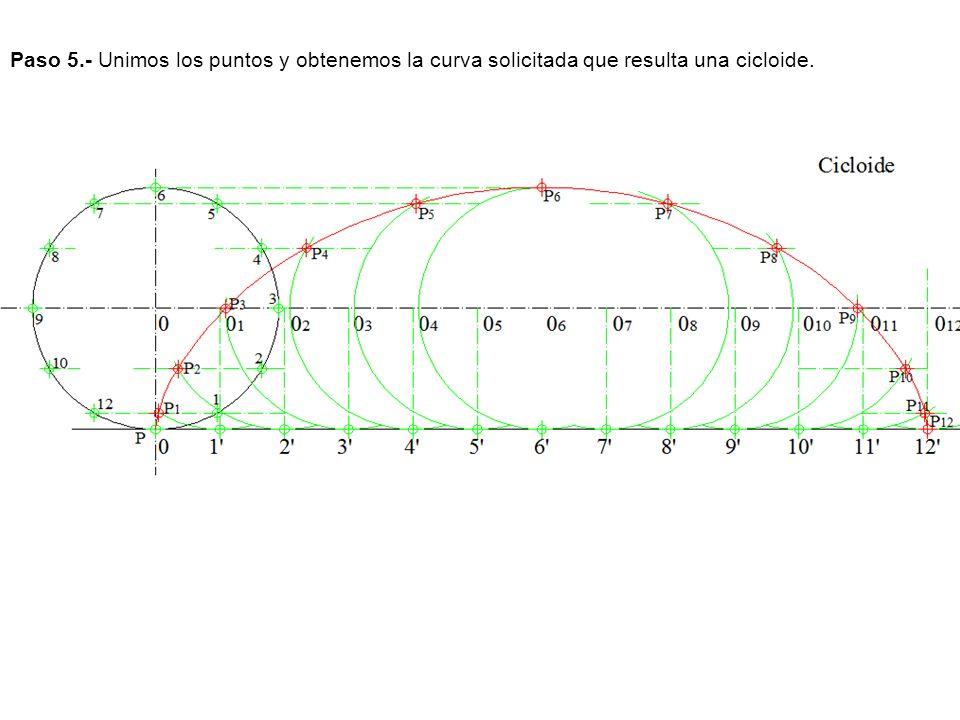 Paso 5.- Unimos los puntos y obtenemos la curva solicitada que resulta una cicloide.