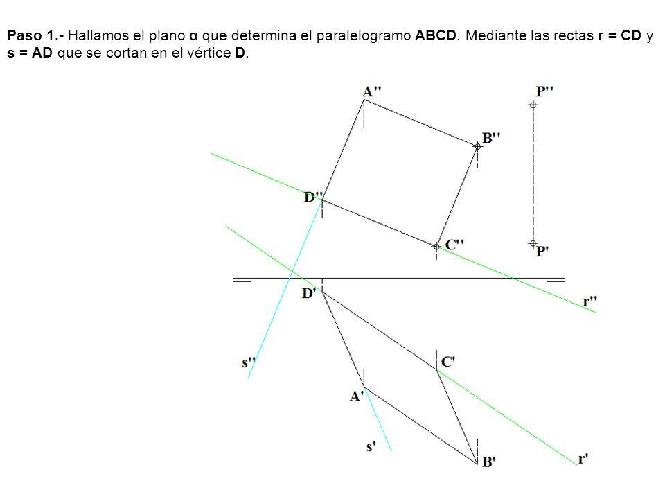 Paso 1. - Hallamos el plano α que determina el paralelogramo ABCD