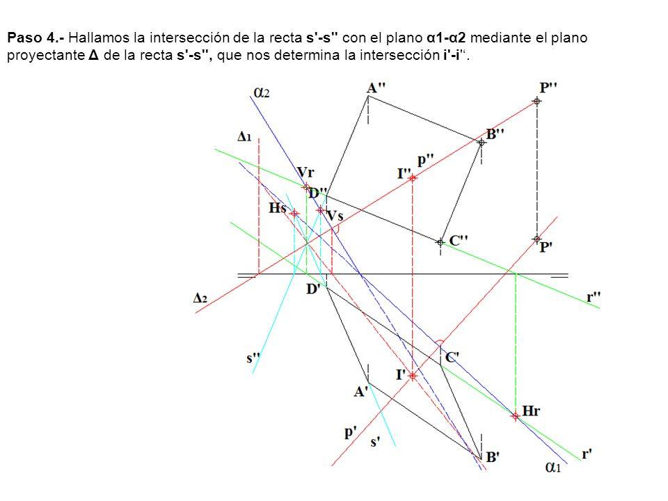 Paso 4.- Hallamos la intersección de la recta s -s con el plano α1-α2 mediante el plano proyectante Δ de la recta s -s , que nos determina la intersección i -i '.