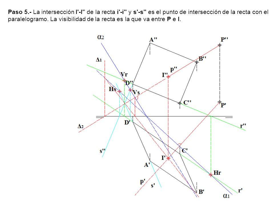 Paso 5.- La intersección I -I de la recta i -i y s -s es el punto de intersección de la recta con el paralelogramo.