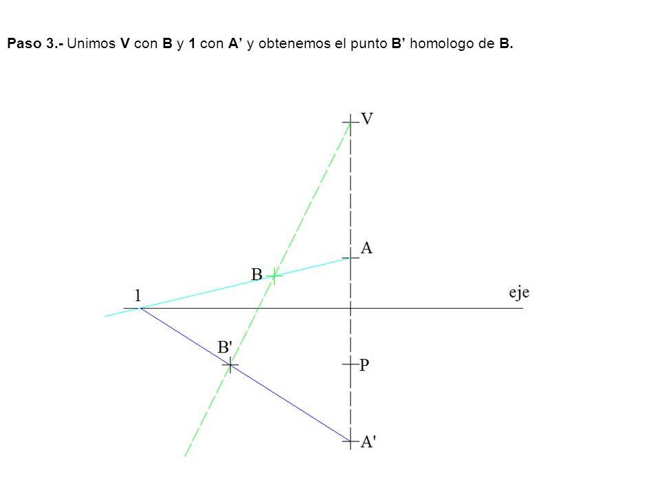 Paso 3.- Unimos V con B y 1 con A' y obtenemos el punto B' homologo de B.