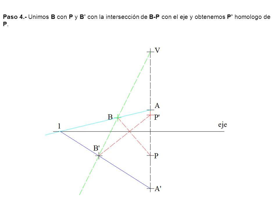 Paso 4.- Unimos B con P y B' con la intersección de B-P con el eje y obtenemos P' homologo de P.