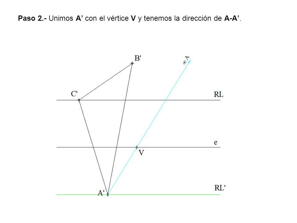 Paso 2.- Unimos A' con el vértice V y tenemos la dirección de A-A'.