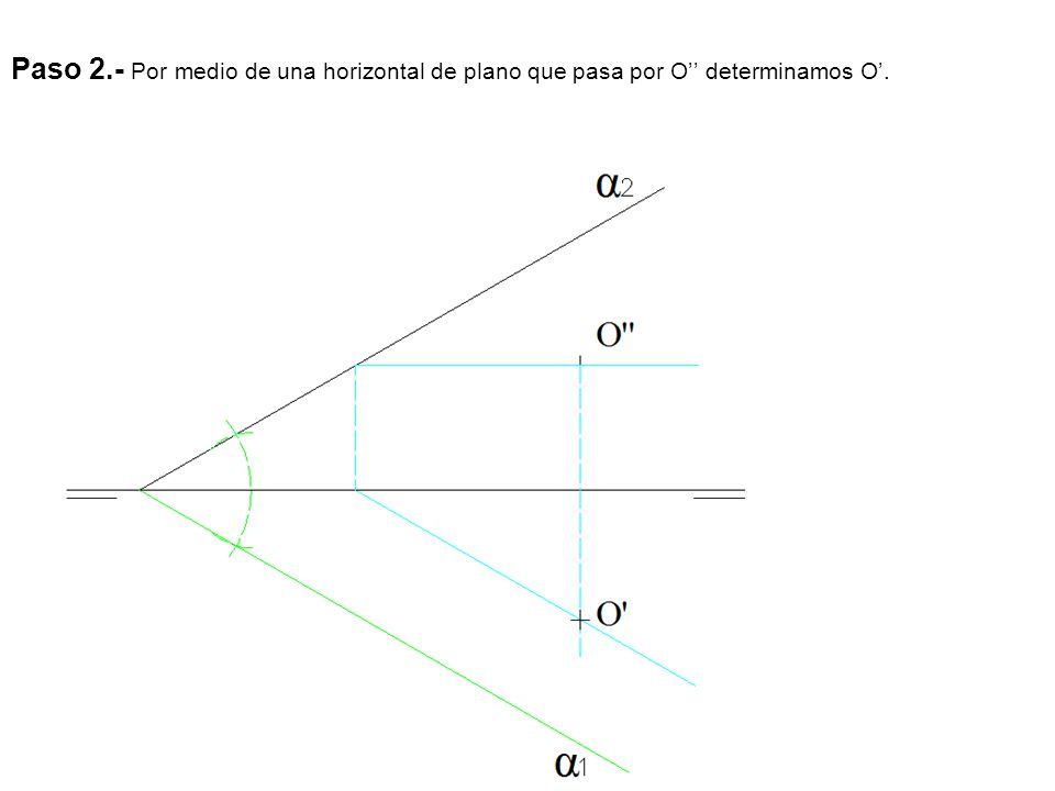 Paso 2.- Por medio de una horizontal de plano que pasa por O'' determinamos O'.