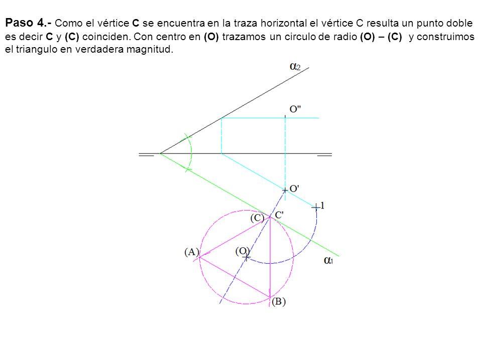 Paso 4.- Como el vértice C se encuentra en la traza horizontal el vértice C resulta un punto doble es decir C y (C) coinciden.