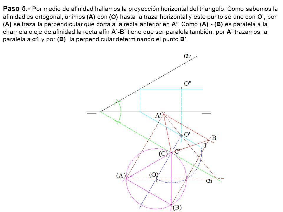 Paso 5.- Por medio de afinidad hallamos la proyección horizontal del triangulo.
