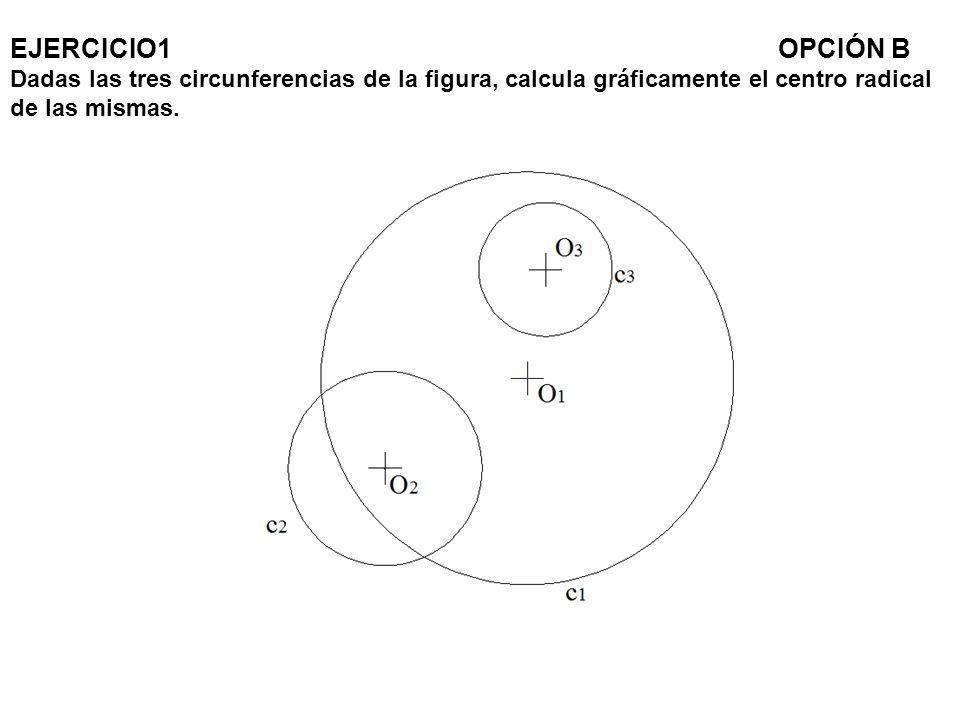 EJERCICIO1 OPCIÓN B Dadas las tres circunferencias de la figura, calcula gráficamente el centro radical de las mismas.