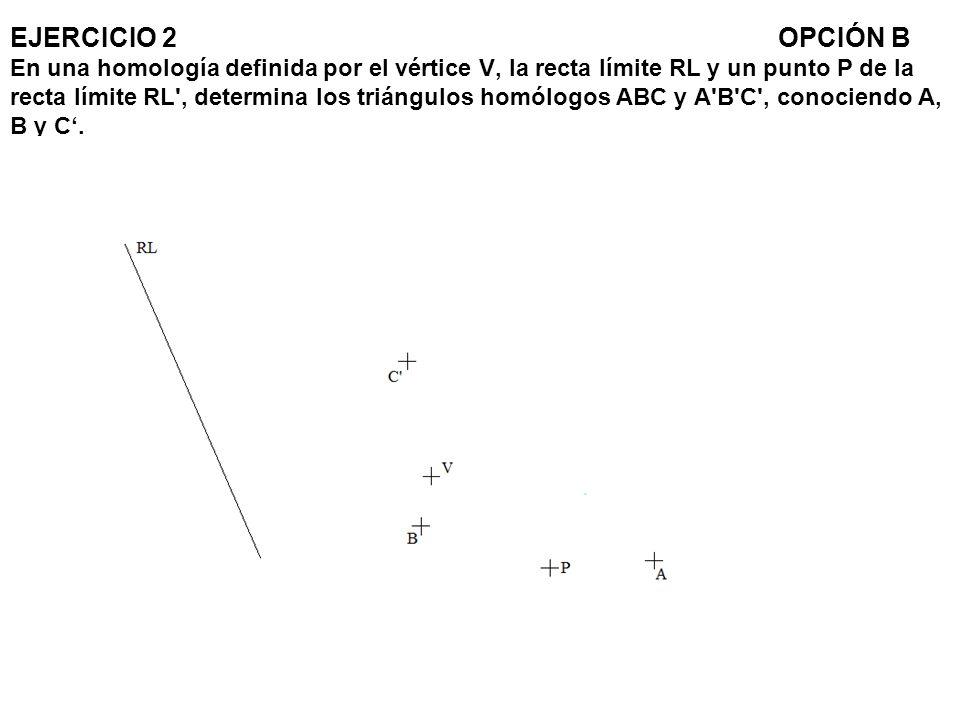 EJERCICIO 2 OPCIÓN B En una homología definida por el vértice V, la recta límite RL y un punto P de la recta límite RL , determina los triángulos homólogos ABC y A B C , conociendo A, B y C'.