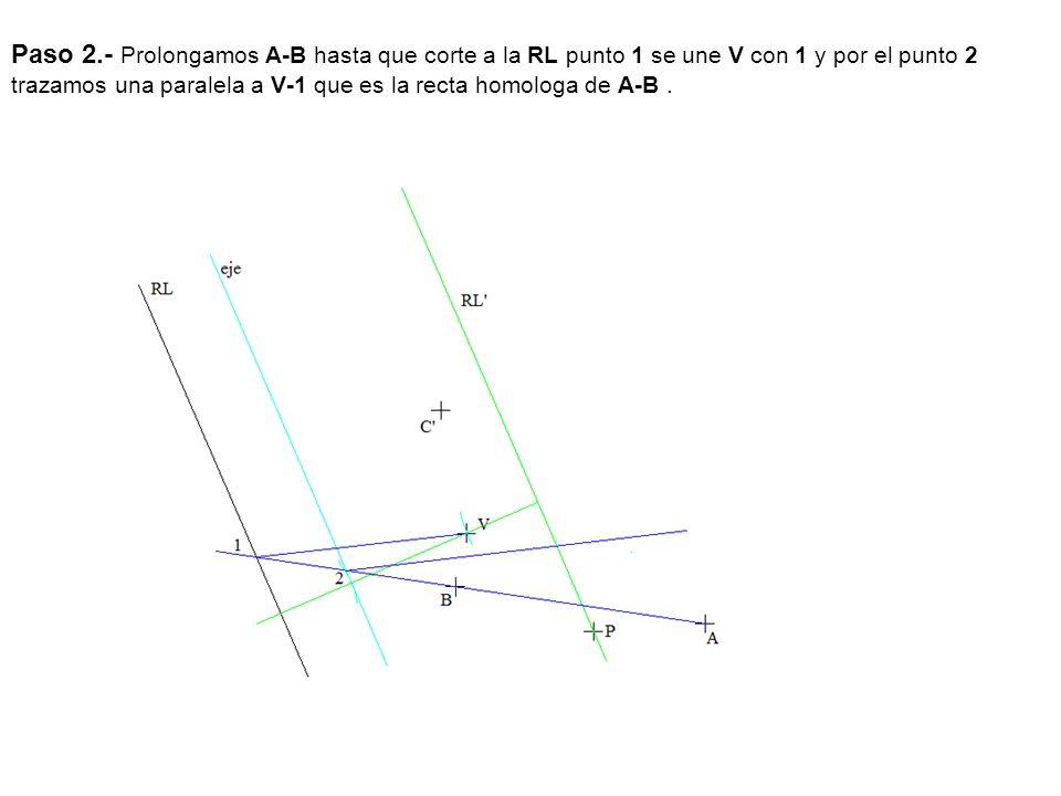 Paso 2.- Prolongamos A-B hasta que corte a la RL punto 1 se une V con 1 y por el punto 2 trazamos una paralela a V-1 que es la recta homologa de A-B .
