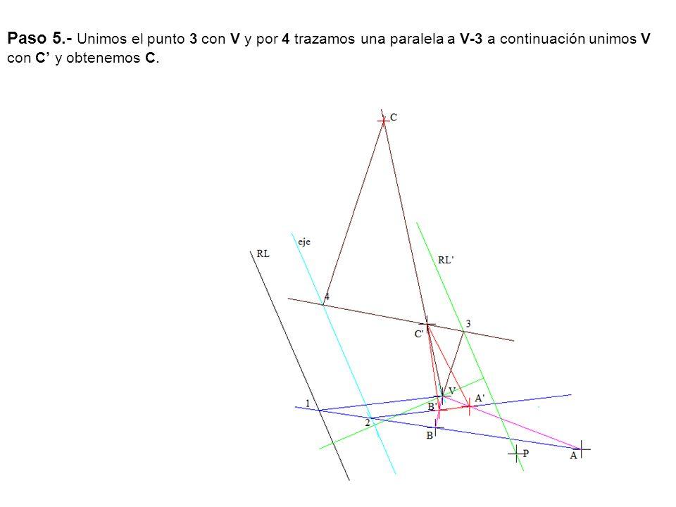 Paso 5.- Unimos el punto 3 con V y por 4 trazamos una paralela a V-3 a continuación unimos V con C' y obtenemos C.