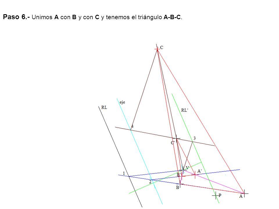 Paso 6.- Unimos A con B y con C y tenemos el triángulo A-B-C.