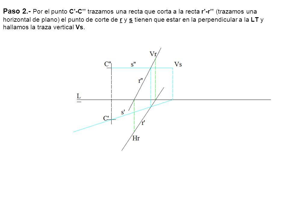Paso 2.- Por el punto C'-C'' trazamos una recta que corta a la recta r'-r'' (trazamos una horizontal de plano) el punto de corte de r y s tienen que estar en la perpendicular a la LT y hallamos la traza vertical Vs.
