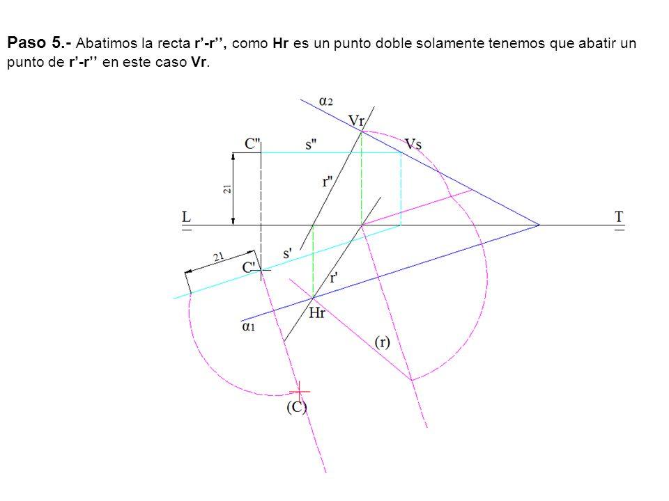 Paso 5.- Abatimos la recta r'-r'', como Hr es un punto doble solamente tenemos que abatir un punto de r'-r'' en este caso Vr.