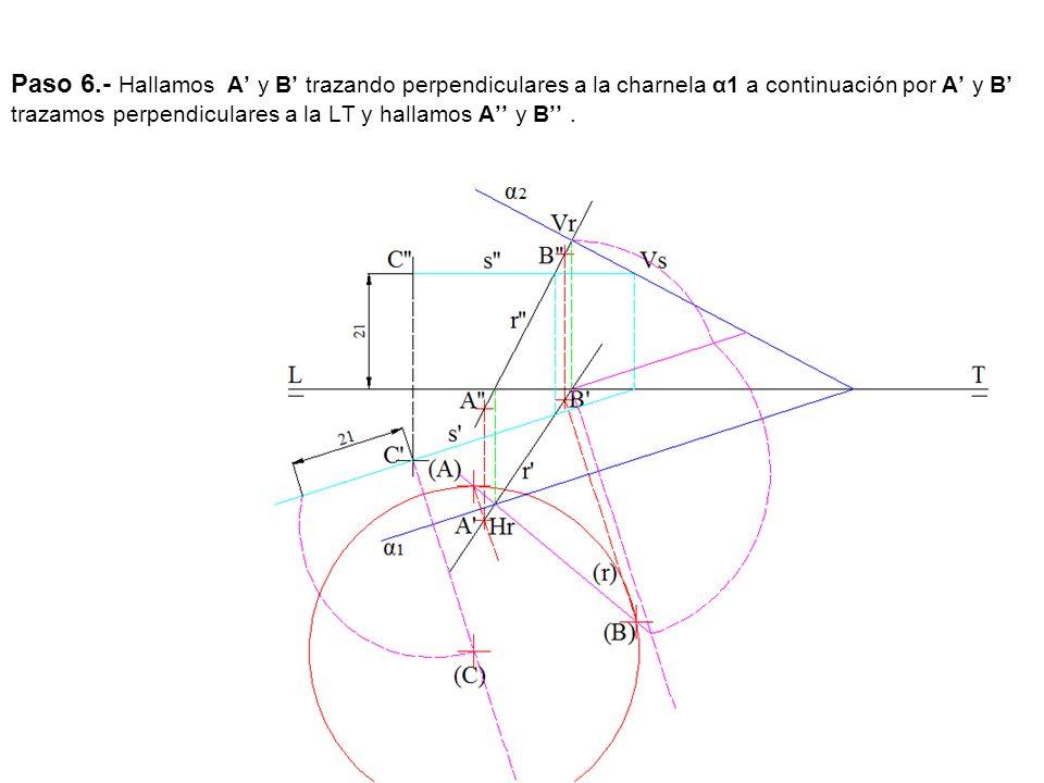 Paso 6.- Hallamos A' y B' trazando perpendiculares a la charnela α1 a continuación por A' y B' trazamos perpendiculares a la LT y hallamos A'' y B'' .